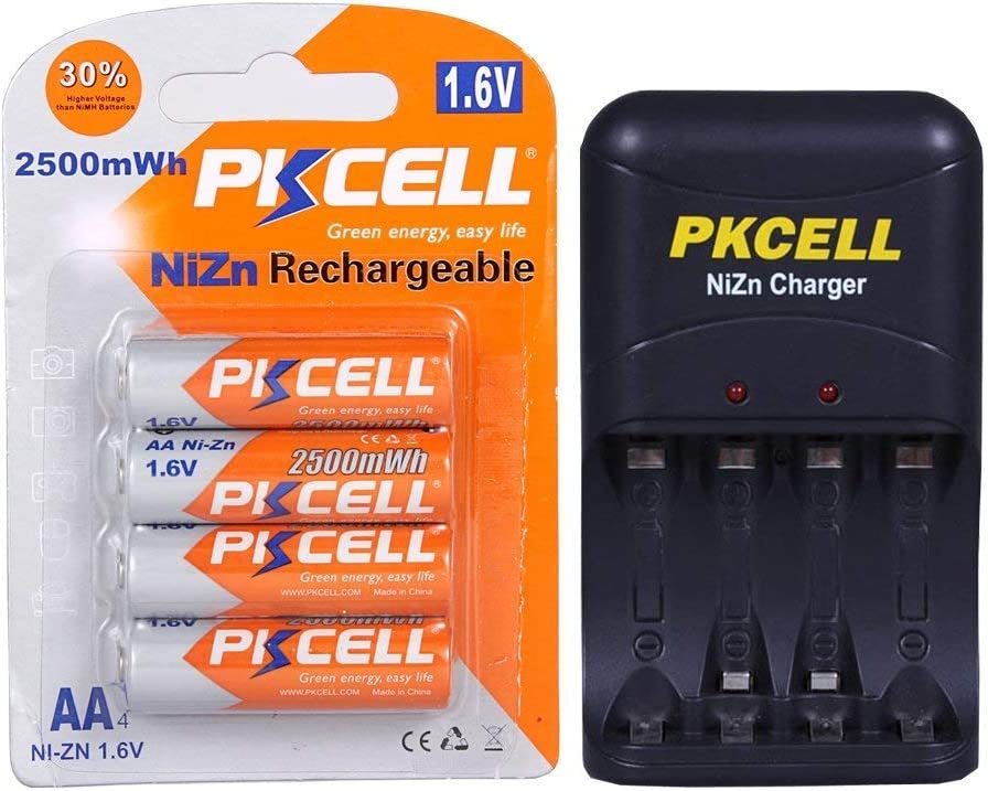 4 Pcs AA 1.6V NiZn 2500mAh Rechargeable Batteries with Ni-Zn AA//AAA Battery Charger