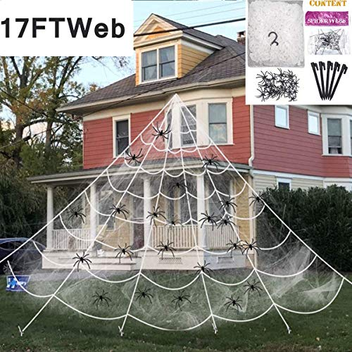 Camlinbo Halloween Decorations Outdoor Giant Spider Web Props Scary Large Fake Spiders and Stretch Cobwebs Decor Yard Lawn Roof Window Mega Triangular Spider Web Decor Haunted House Party Supplies
