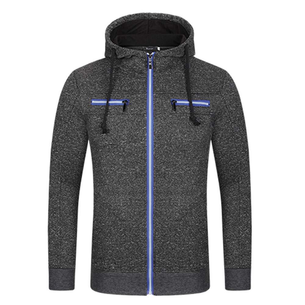 PASATO Classic Clothes! Men's Autumn Winter Casual Zipper Long Sleeve Hooded Coat Top Blouse Jacket New Hot!(Black, 2XL)