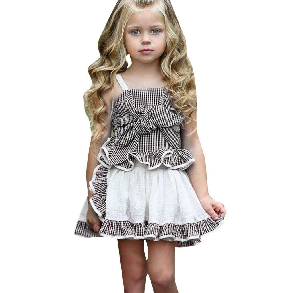 Waymine Summer Kids Baby Girls Sleeveless Sling Plaid Bow Tops+Pants Skirt Set