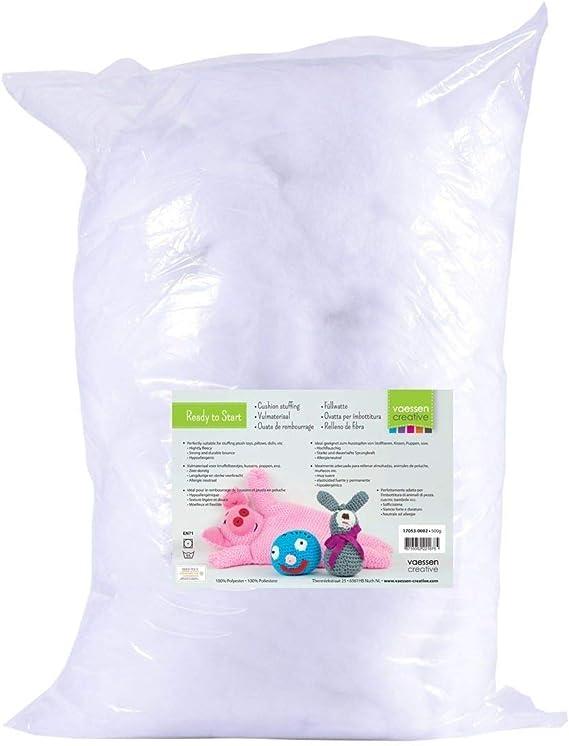 Vaessen Creative Relleno de Fibra de Poliéster Blanco Suave para la Fabricación de Peluches DIY, Cojines y Manualidades, 500gr: Amazon.es: Hogar
