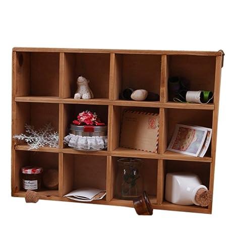 ieasycan grande 12 Grid Craft pantalla Organizer, armario caja superior armario madera caso, cajas de almacenaje de recuerdo de Multipurpose š cwood ...