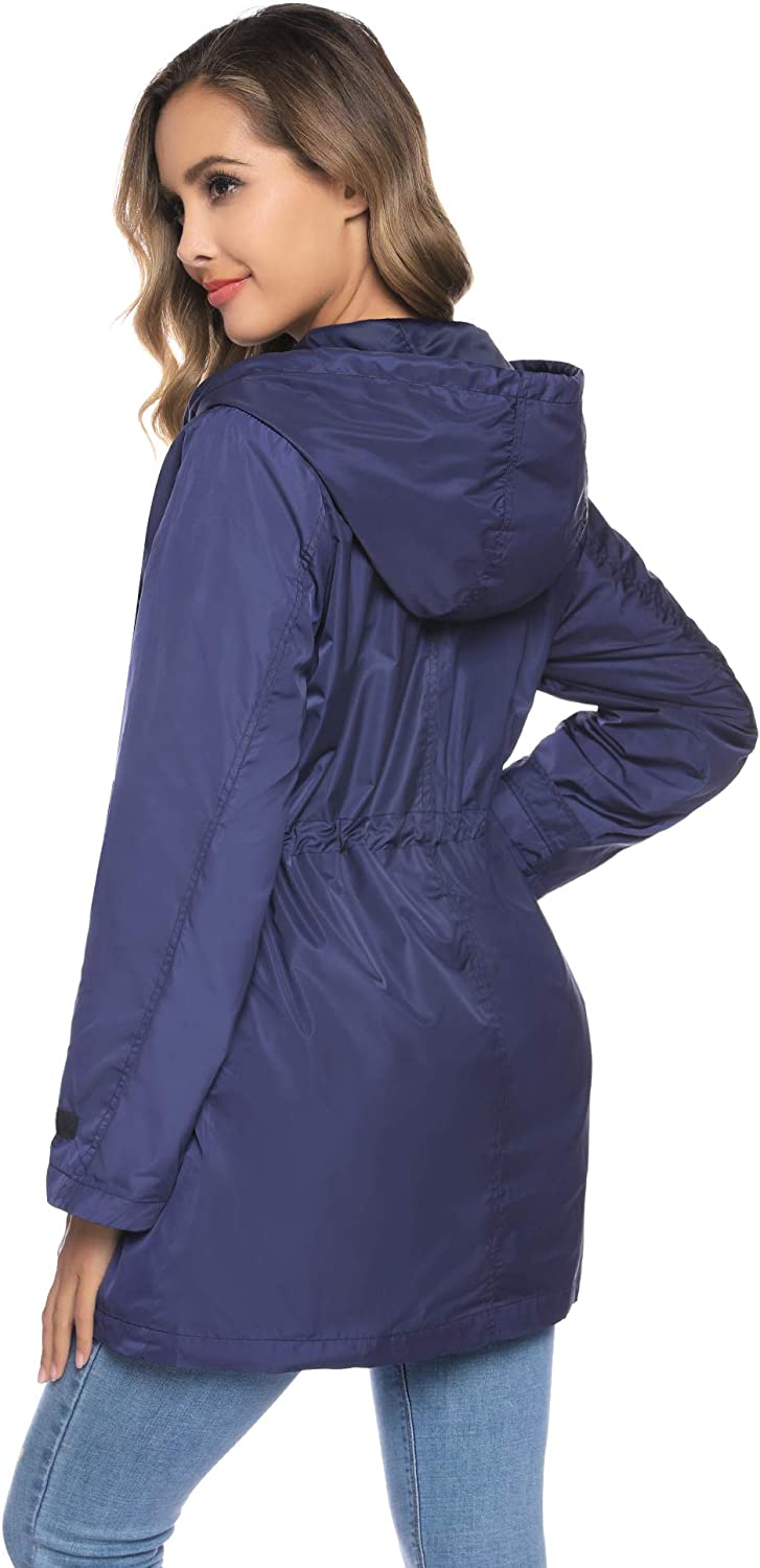 Abollria Rain Jacket Women Waterproof Hood Lightweight Active Outdoor Raincoat Windbreaker