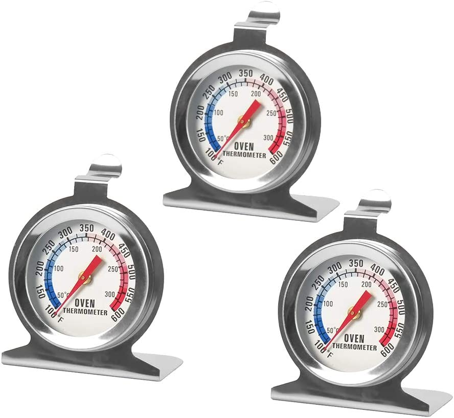 GERW Oven Thermometer Stainless Steel Instant Read Oven/Grill/Smoker Monitoring Thermometer ProcAccurate Kitchen Cooking Mechanical Thermometer for BBQ Baking (3 Pack)