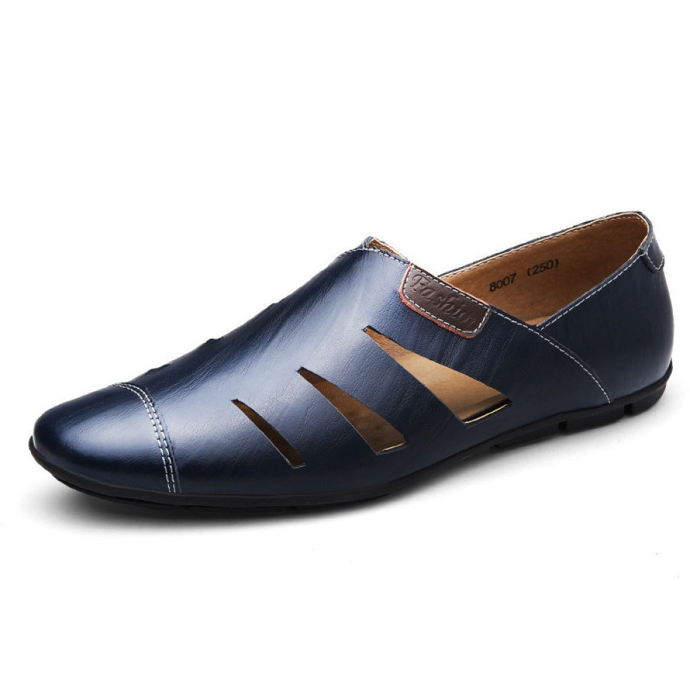 Zapatos Ocasionales Respirables para Hombres Zapatos Huecos De Cuero 40 EU|Blue