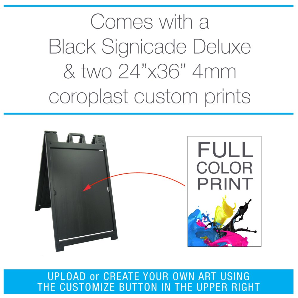 Black Signicade Deluxe with two custom printed signs
