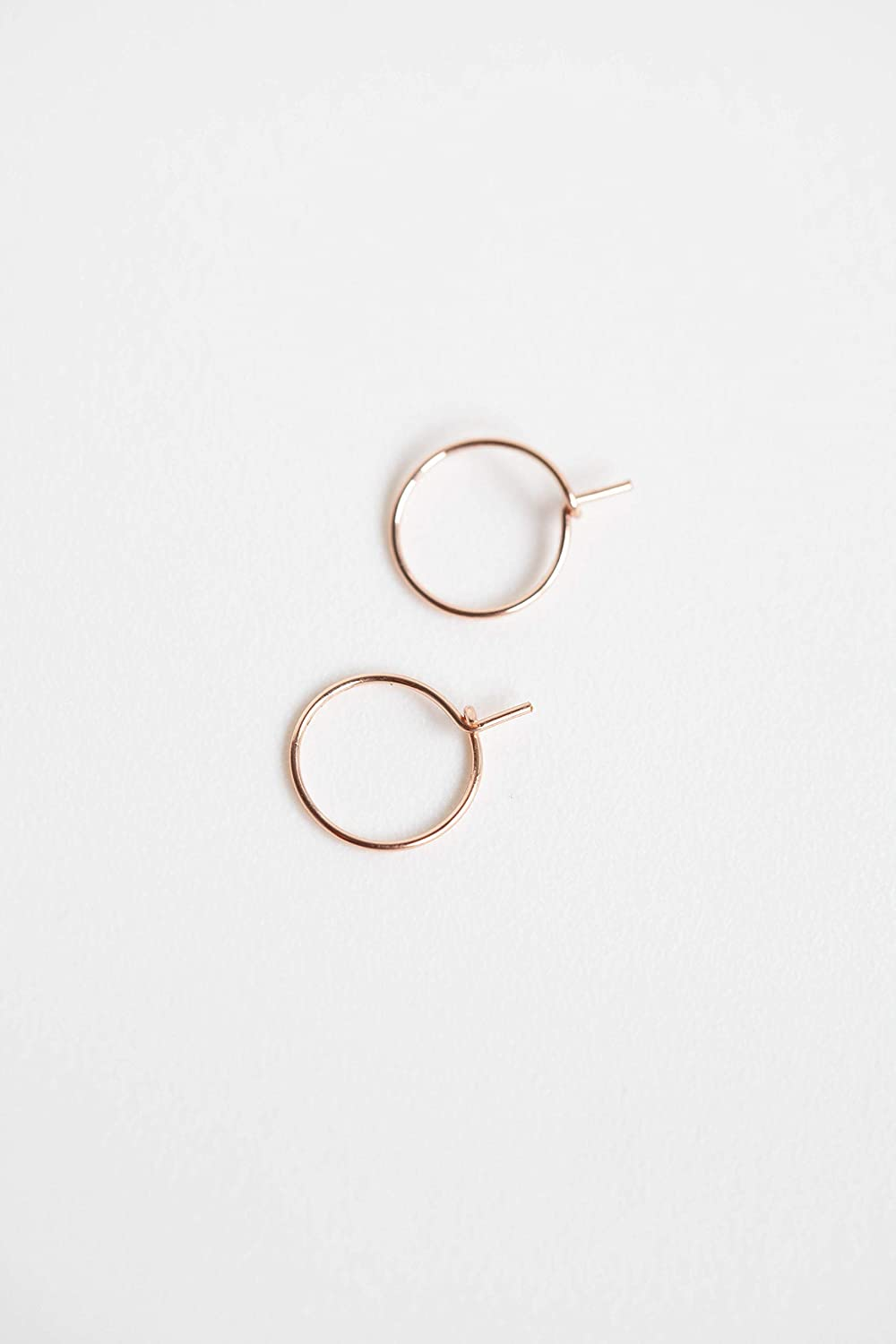 Rose Gold Thin Hoop Earrings for Woman Easy Everyday Earring 22 Gauge 8mm