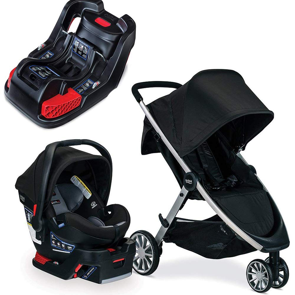 Britax B-Lively & B-Safe Ultra Travel System, Noir with Extra Base Bundle