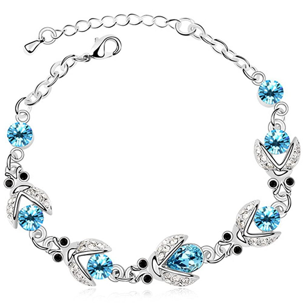 FLORAY Ladies Blue Firefly Bracelet, Beautiful Crystals, Sparkling Zircon, 18k White Gold Plated. Free Blue Jewellery Box. 1575bbc-ca