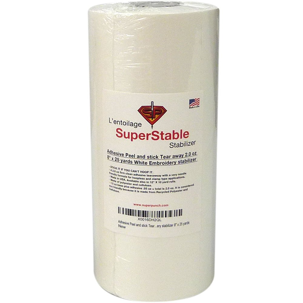 Adhesive Peel and Stick Tear Away Stabilizer White 2.0 oz, 8 x 25 Yards Roll. SuperStable Embroidery Stabilizer Superpunch