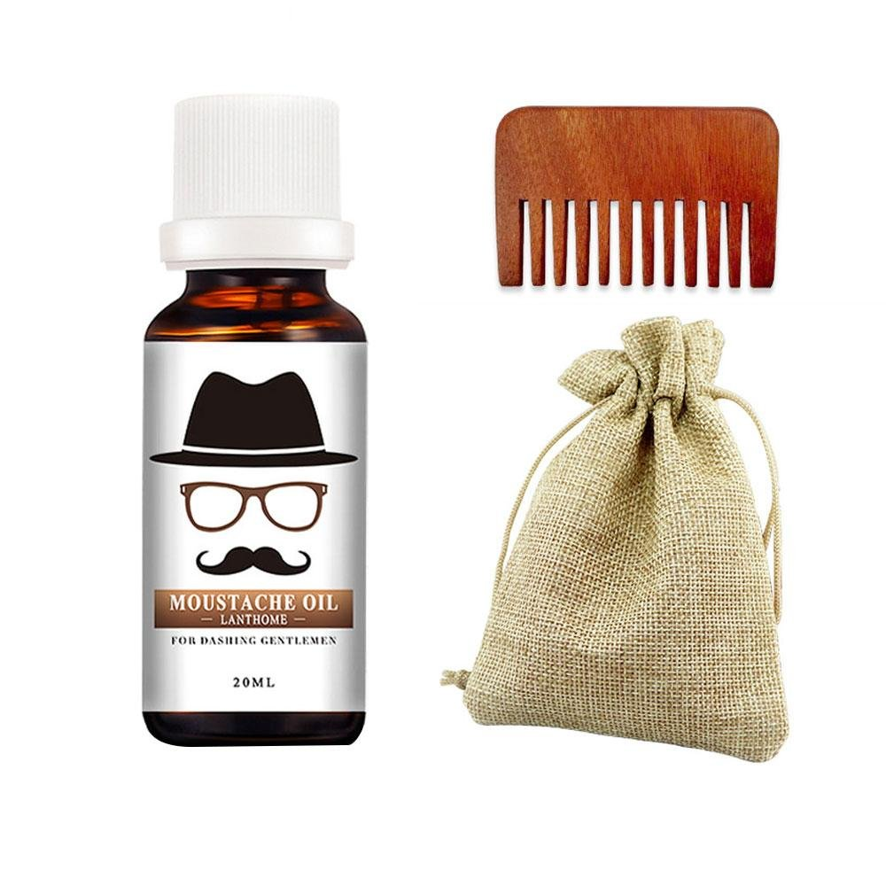 Beard Balm & Oil With Comb, Aolvo Beard Grooming Kit Moustache Wax Men Hydration Care Softener Gift Set For All Type of Beard Vanilla and Mango Scented Conditioner
