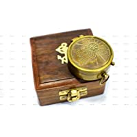 """Not All Those Who Wander Are Lost Quote Antique Brass Compass 2"""" With Wooden Box , Unique Gift"""