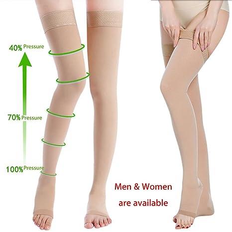 Bluelover Piel Color Anti Salto Compresión Muslo Medias Prevenir Varices Vena Calcetines Alivio del Dolor Abierto