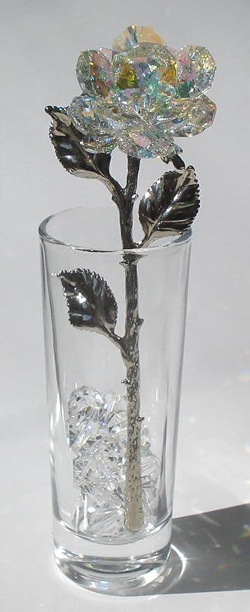 Amazon.com  Swarovski AB Crystal Rose Made Crystal in Vase  Home ... 935349a4bc