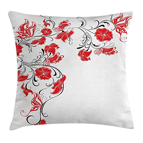 Fimaliy Red and Black Throw Pillow Cushion Cover, Japanese Asian Decor Flowers Swirls Ivy and Leaves Butterflies Image, Decorative Square Accent Pillow Case, 18 X 18 Inches, Scarlet and White