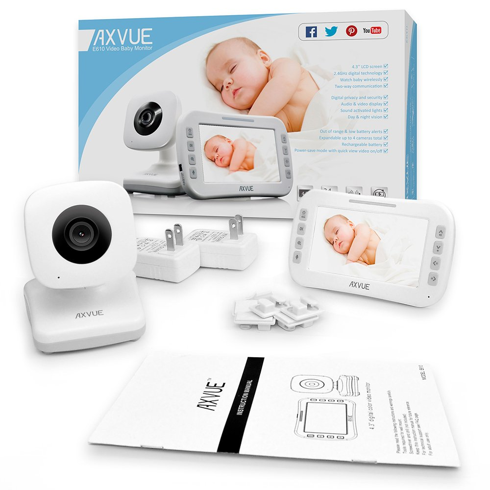 Video Baby Monitor with Large LCD Screen and Night Vision, Upto 800' and 8 Hours, Two Way Communication, View Angle Adjustable, Power Saving Video On/Off by AXVUE, E610 by Axvue
