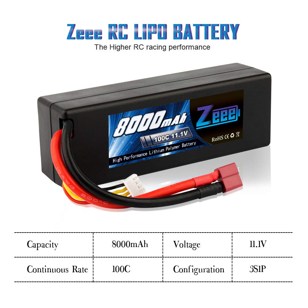 Zeee 8000mAh 11.1V 100C 3S RC Lipo Battery Pack with Deans T Plug for 1/8 1/10 RC Car Model Traxxas Slash Buggy Team Associated by Zeee (Image #4)