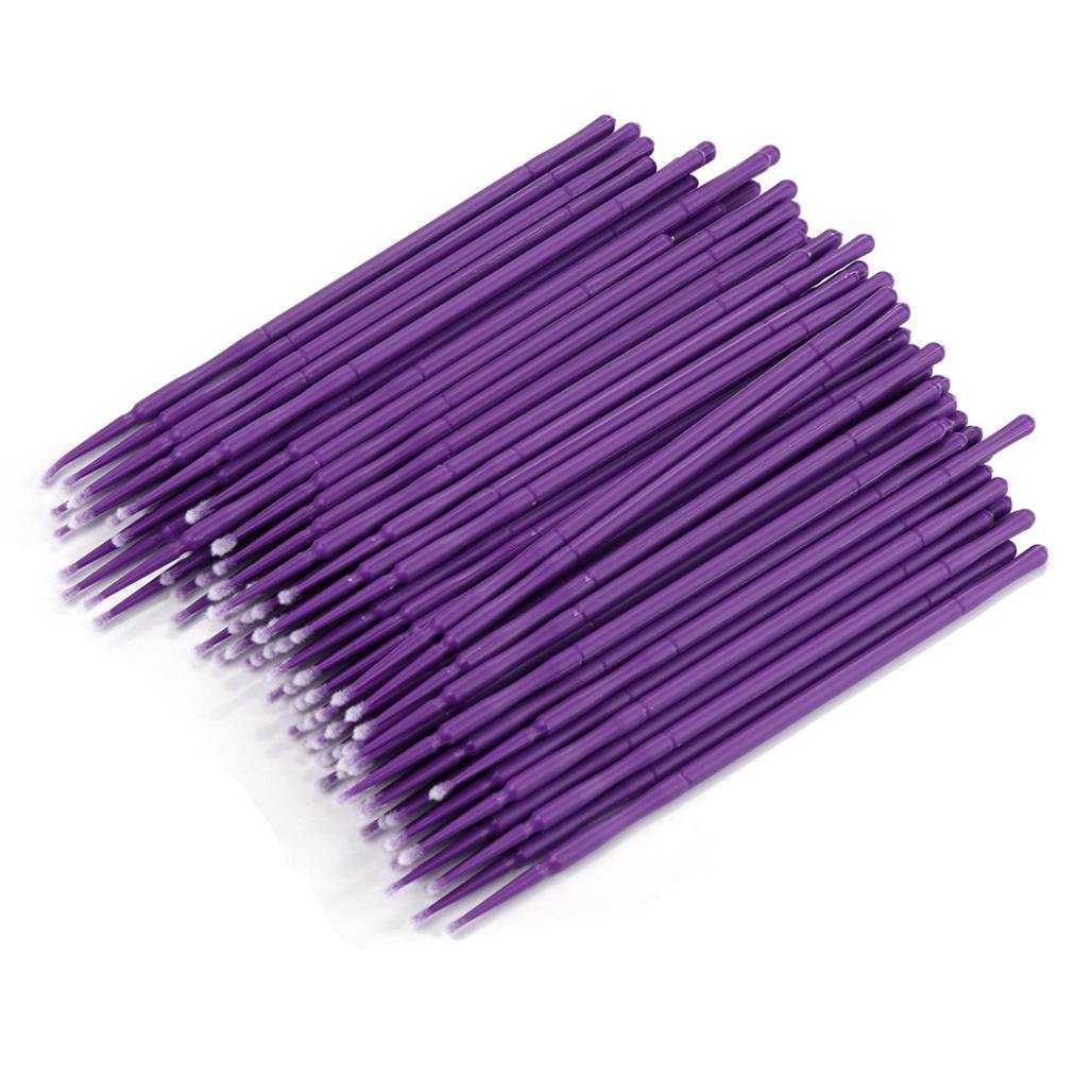 100Pc/ Bottle Cotton Swab Stick, Tuscom Cleaning Stick Cotton Swab,Microblading Micro Brushes Swab Lint Free Tattoo Permanent Supplies (Purple)