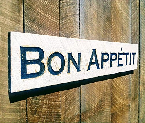 Bon Appetit Sign - Carved in a Cypress Board Rustic Distressed Bakery Shop Advertisement Farmhouse Style Wooden Wood French - In Shops French