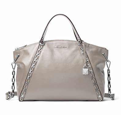 Michael Kors Shoulder Bag for Women On Sale, Pearl Grey, Leather, 2017, one size