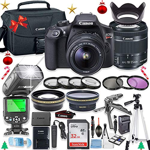 Canon EOS Rebel T6 DSLR Camera Bundle with Canon EF-S 18-55mm is II Lens + 32GB Sandisk Memory + Canon Case + TTL Speedlight Flash (Good Upto 180 Feet) + Accessory Bundle