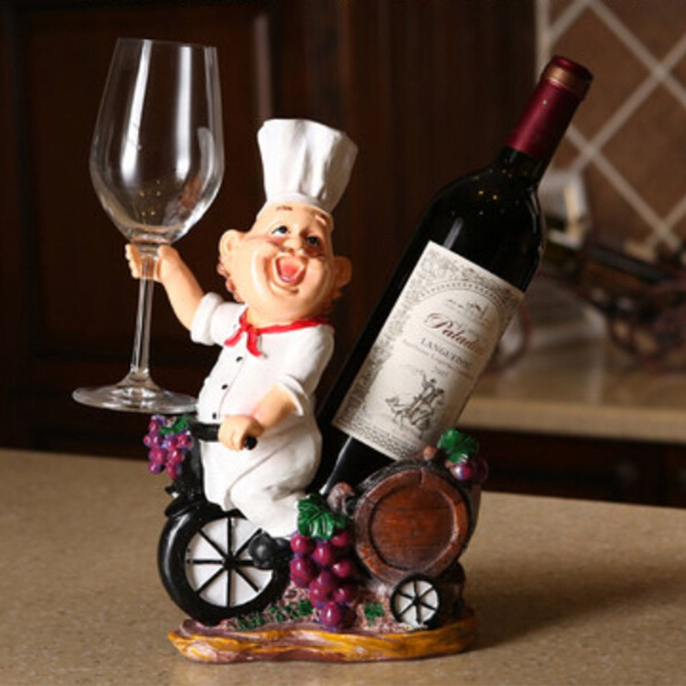 OLizee Fat Chef Resin Decorative Wine Bottle Holder Rack 243112CM