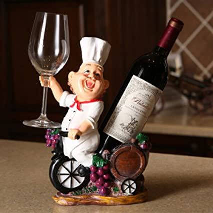 Amazon OLizee Fat Chef Resin Decorative Wine Bottle Holder Rack Adorable Decorative Wine Bottle Holders