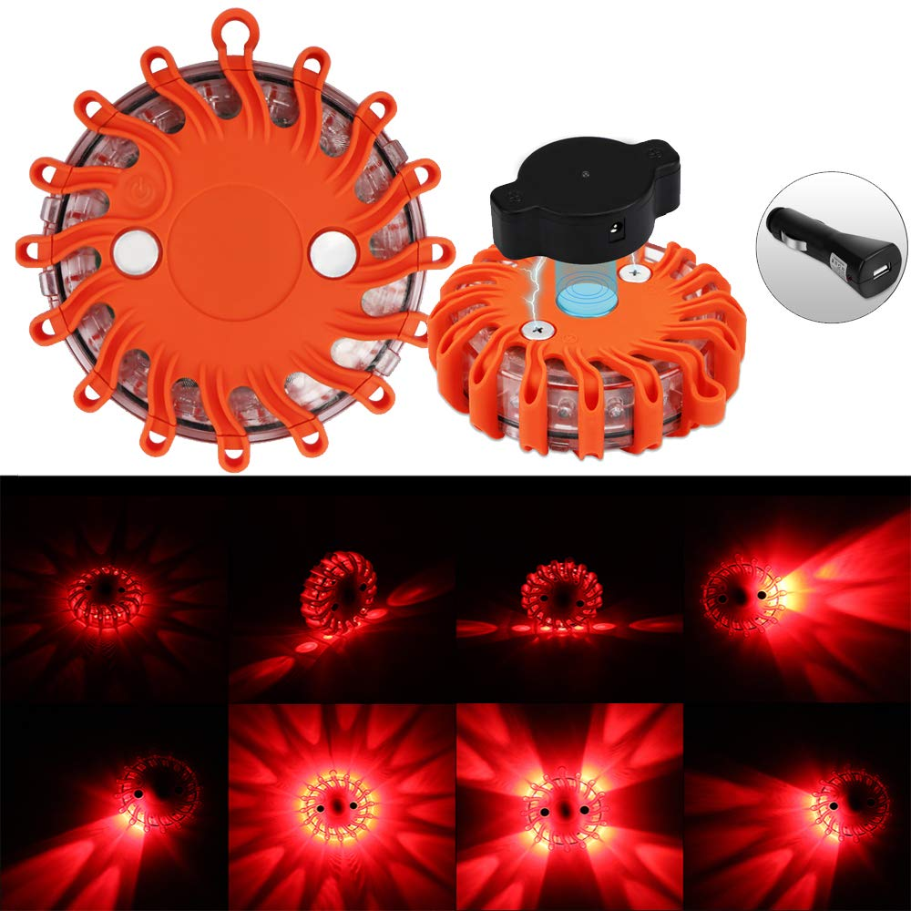 ALLOMN Traffic Warning Light, Emergency Warning Flashlight Waterproof LED Road Flare Car Safety Light Red Magnetic with 9 Modes Flashlight Strobe SOS for Marine Boat Rescue Camping Hiking (2 Pack)