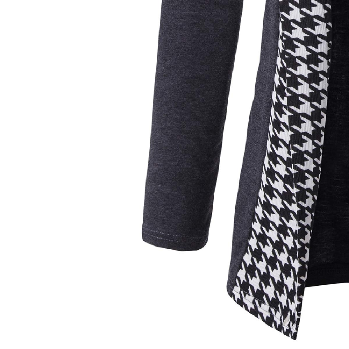 YUNY Mens Classic Contrast Casual Houndstooth Fall Winter Cardigan
