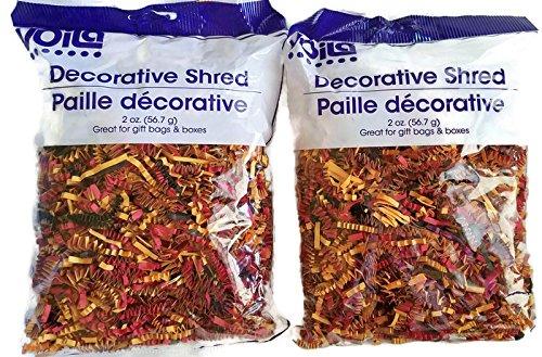 Decorative Shred Basket Filler Fall Colors - Red Black, Orange Set of 2 (Basket Set Fall)