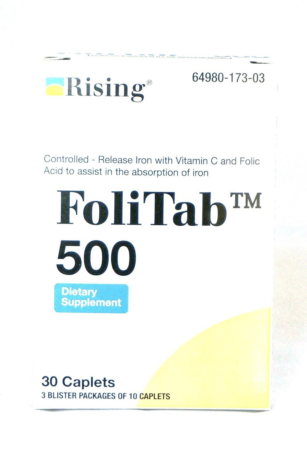 FoliTab 500 Controlled-Released Iron with Vit C and Folic Acid 30-Count (2 Pack)