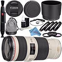 Canon EF 70-200mm f/4L IS USM Lens 1258B002 + 67mm 3pc Filter Kit + 67mm Macro Close Up Kit + Lens Pen Cleaner + Fibercloth + Deluxe Cleaning Kit Bundle