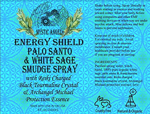 Energy Shield Palo Santo & White Sage Smudge Spray (4 oz.) with with Reiki Charged Black Tourmaline Crystal & Archangel Michael Protecion Essence, Shields Against EMFs, Psychic Attacks, Night Terrors by Mystic Angel (Image #3)