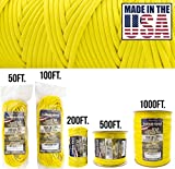 TOUGH-GRID 750lb Yellow Paracord/Parachute Cord - Genuine Mil Spec Type IV 750lb Paracord Used by The US Military (MIl-C-5040-H) - 100% Nylon - Made in The USA. 100Ft. - Yellow