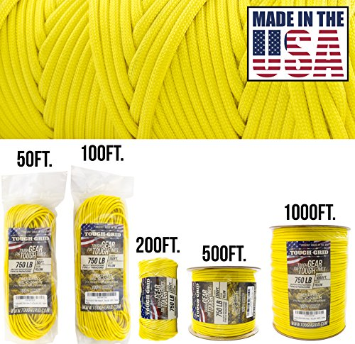 TOUGH-GRID 750lb Yellow Paracord/Parachute Cord - Genuine Mil Spec Type IV 750lb Paracord Used by The US Military (MIl-C-5040-H) - 100% Nylon - Made in The USA. 50Ft. - Yellow (Anchor Rig Tube)
