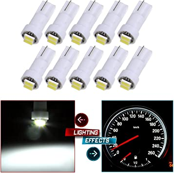 blue cciyu 10 Pcs 2-2835-SMD T5 Instrument Cluster Indicator Led Bulbs Light