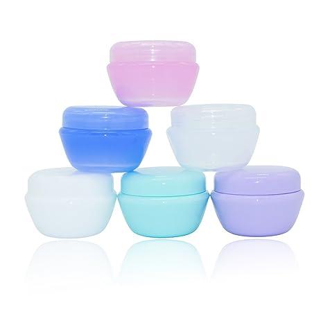 Kaimeng - Juego de 6 recipientes pequeños para cosméticos, tapas de tarro vacías de plástico
