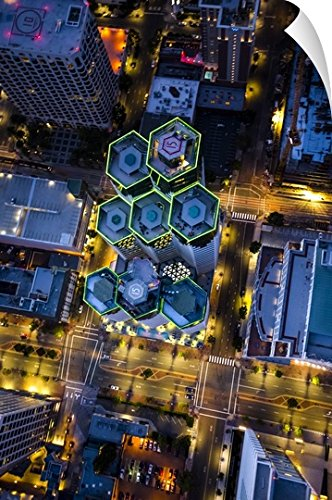 Copter Pilot Wall Peel Wall Art Print entitled Aerial view of Emerald Plaza, San Diego, at night - Plaza San Las Diego Americas