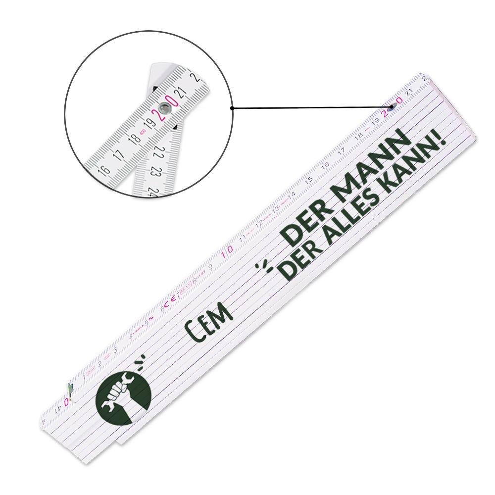 Der Mann der alles kann Zollstock mit Namen Cem und sch/önem Motiv Meterma/ß Viele Namen zur Auswahl Glieder-Ma/ßstab mit Namen bedruckt f/ür M/änner