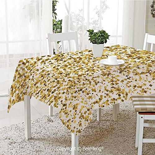 (BeeMeng Large dustproof Waterproof Tablecloth,Family Table Decoration,Gold and White,Party Celebration Themed Confetti Like Squares Abstract Ombre Image Decorative,Yellow and White,70 x 104)