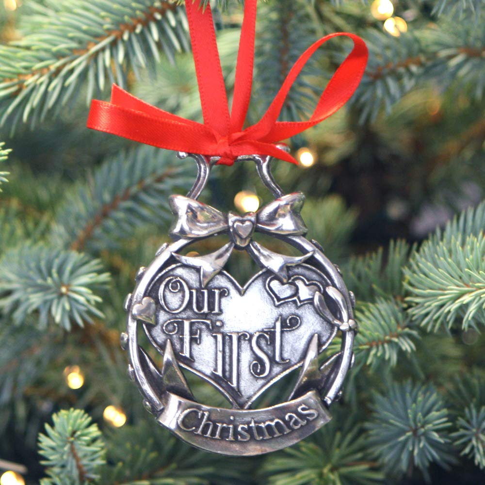 English Pewter Company Our First Chrsitmas Luxury Pewter Christmas Tree Decoration Pendant Baubles Ornament [CHR008]