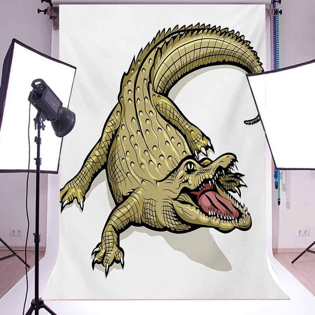 Reptile 10x15 FT Backdrop Photographers,Illustration of Exotic Wild Crocodile Hungry Mouth Predator Aquatic Safari Theme Background for Child Baby Shower Photo Vinyl Studio Prop Photobooth Photoshoot