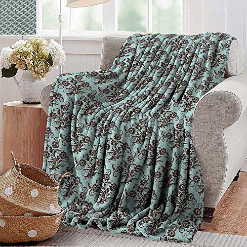 (PearlRolan Luxury Flannel Fleece Blanket,Art Nouveau,Vintage Swirls Vibrant Foliage Damask Style Classic Renaissance,Seal Brown and Pale Blue,All Season Light Weight Living Room/Bedroom 70