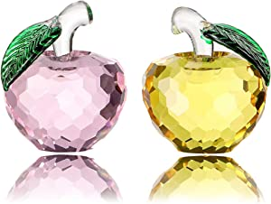 Vie jeune Crystal Apple Figurine Paperweight, Handmade Statue Ornament Home Decoration, Collectible Crystal Crafts, Come with Gift Box, Great Gift for Birthday Holidays Christmas (Pink+Yellow-50mm)