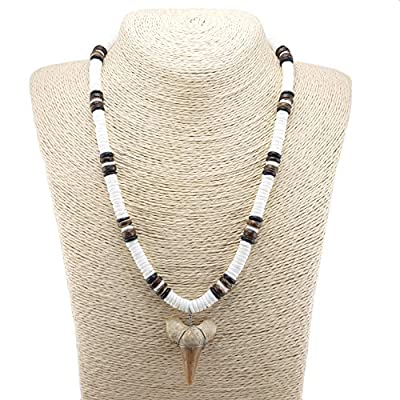 BlueRica Shark Tooth Necklace on Puka Shell Necklace with Coco Wood Beads