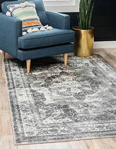 Medallion Silk Rug - Unique Loom Sofia Collection Traditional Vintage Gray Area Rug (8' x 10')