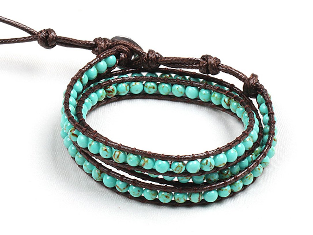 Turquoise Wrap Bracelet Handmade Brown Multilayer 4 Mm Fashion Woven Bangle
