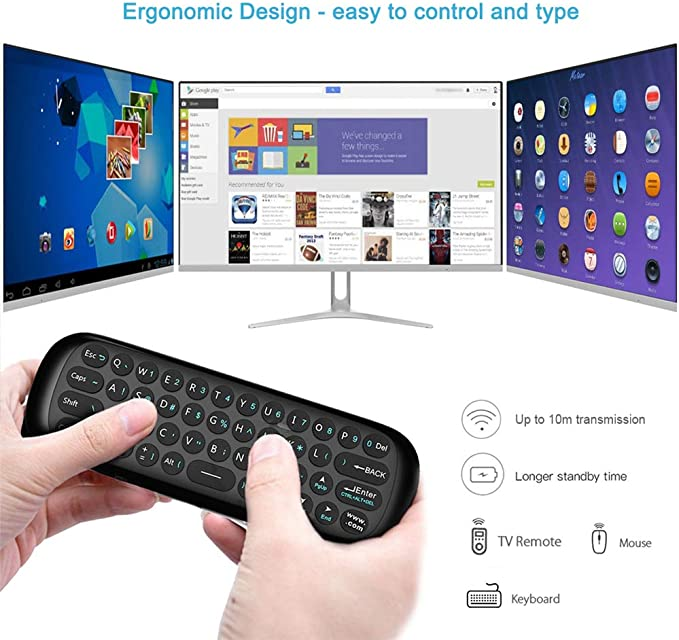 Ratón de Aire, Teclado Inalámbrico y Ratón para Android TV Box, Smart TV, Ordenador, portátil, proyector, HTPC, IPTV, Reproductor Multimedia: Amazon.es: Electrónica