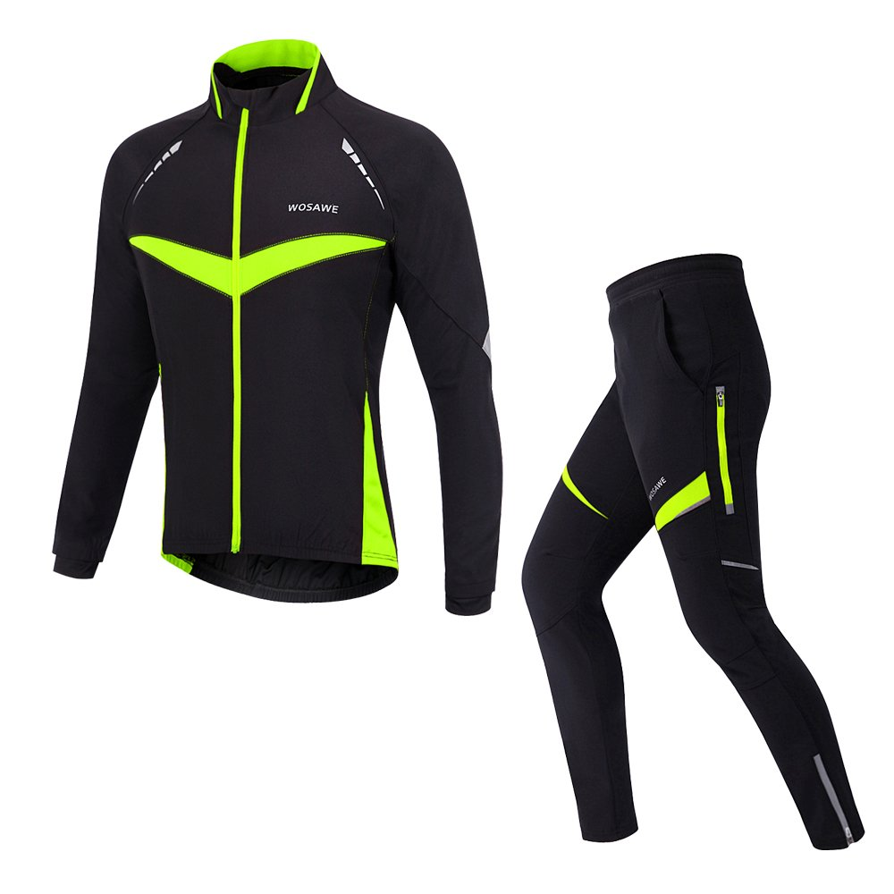 WOLFBIKEメンズThermal Cycling Jersey MTBバイクジャケットパンツ防風 B018IM4V6A Large|NEW Black/Green Set NEW Black/Green Set Large