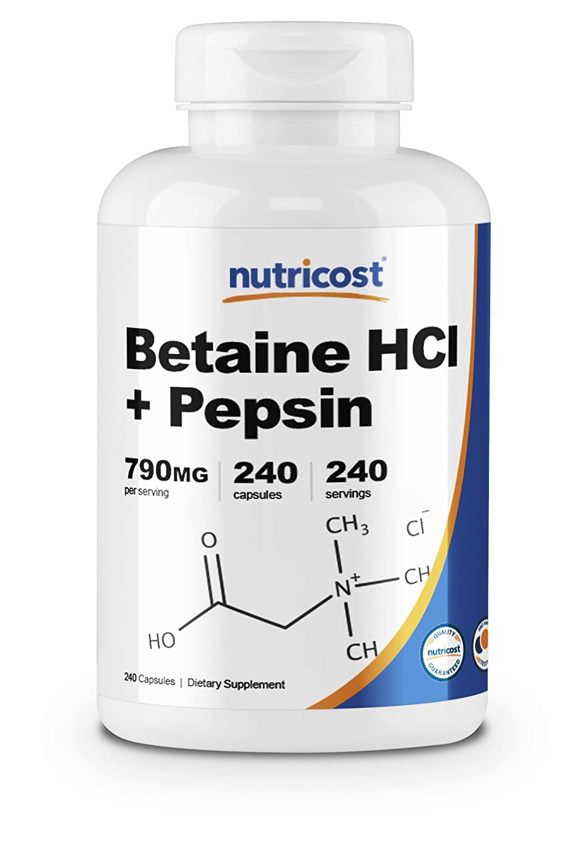 Nutricost Betaine HCl + Pepsin 790mg, 240 Capsules - Gluten Free & Non-GMO